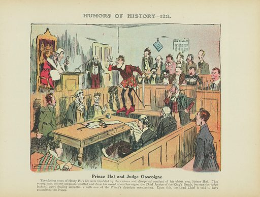 Prince Hal and Judge Gascoigne. Illustration for Humors of History (Sully and Ford, c 1905).