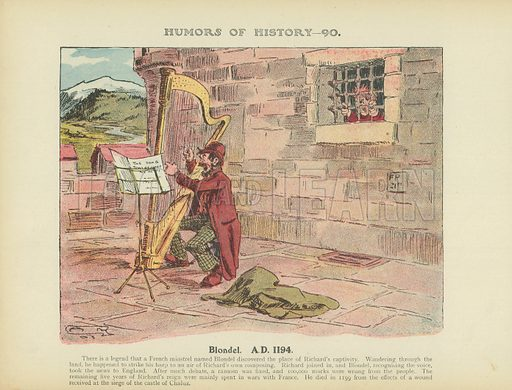 Blondel. AD 1194. Illustration for Humors of History (Sully and Ford, c 1905).
