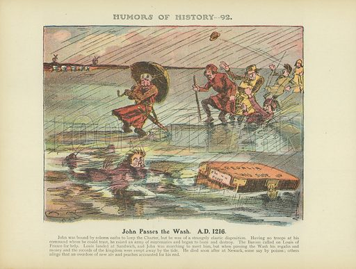 John Passes the Wash. A.D. 1216. Illustration for Humors of History (Sully and Ford, c 1905).