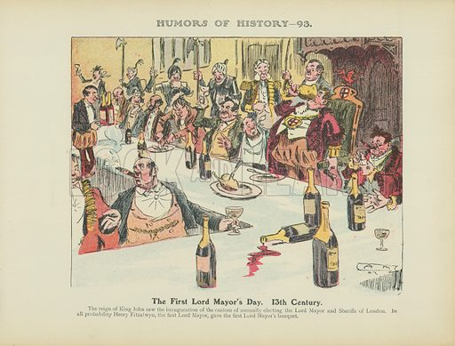 The First Lord Mayor's Day. 13th Century. Illustration for Humors of History (Sully and Ford, c 1905).
