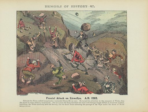 Frontal Attack on Llewellyn. AD 1282. Illustration for Humors of History (Sully and Ford, c 1905).