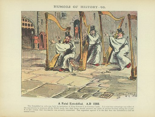 A Fatal Eisteddfod. AD 1282. Illustration for Humors of History (Sully and Ford, c 1905).