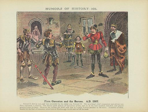 Piers Gaveston and the Barons. AD 1307. Illustration for Humors of History (Sully and Ford, c 1905).
