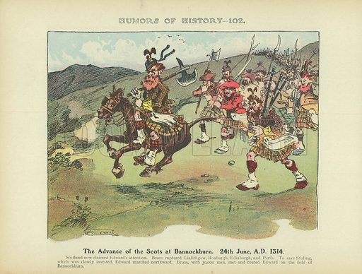 The Advance of the Scots at Bannockburn. 24th June, AD 1314. Illustration for Humors of History (Sully and Ford, c 1905).