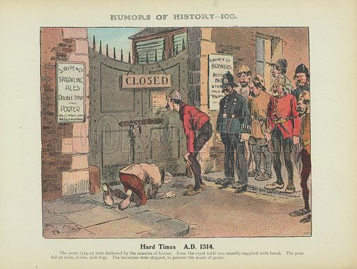 Hard Times. AD 1314. Illustration for Humors of History (Sully and Ford, c 1905).