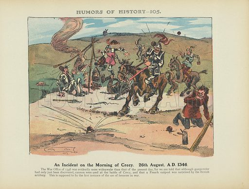 An Incident on the Morning of Crecy. 26th August, AD 1346. Illustration for Humors of History (Sully and Ford, c 1905).