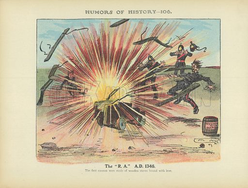 """The """"RA"""" AD 1346. Illustration for Humors of History (Sully and Ford, c 1905)."""