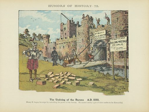 The Undoing of the Barons. AD 1155. Illustration for Humors of History (Sully and Ford, c 1905).