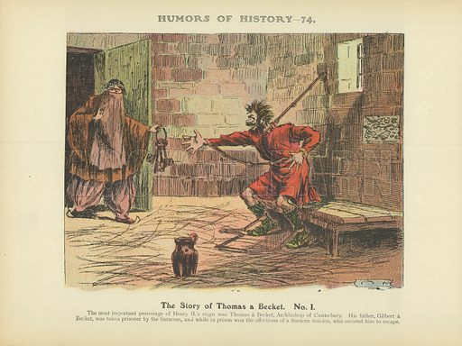 The Story of Thomas a Becket. No. 1. Illustration for Humors of History (Sully and Ford, c 1905).