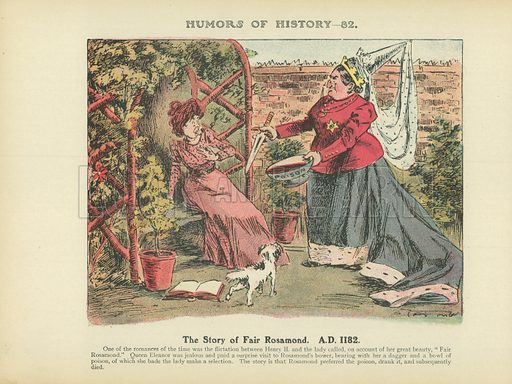 The Story of Fair Rosamond. AD 1182. Illustration for Humors of History (Sully and Ford, c 1905).