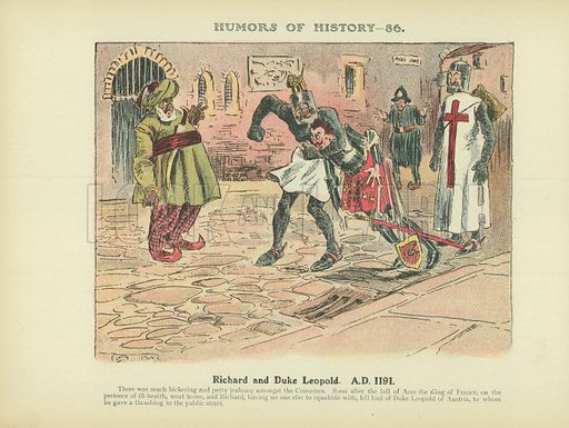 Richard and Duke Leopold. AD 1191. Illustration for Humors of History (Sully and Ford, c 1905).