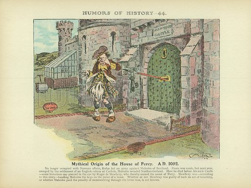 Mythical Origin of the House of Percy. AD 1092. Illustration for Humors of History (Sully and Ford, c 1905).