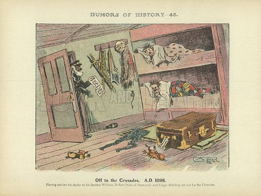Off to the Crusades. AD 1096. Illustration for Humors of History (Sully and Ford, c 1905).