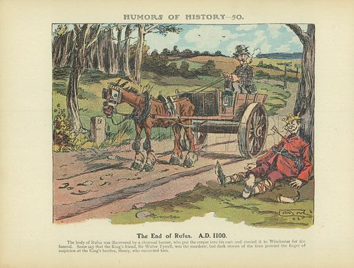 The End of Rufus. AD 1100. Illustration for Humors of History (Sully and Ford, c 1905).