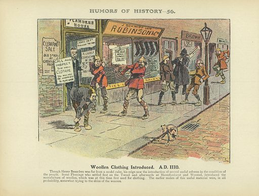 Woollen Clothing Introduced. AD 1110. Illustration for Humors of History (Sully and Ford, c 1905).