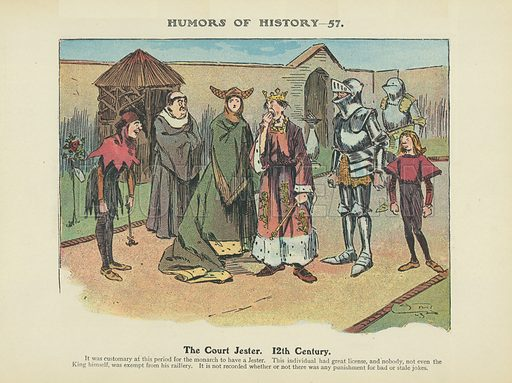 The Court Jester. 12th Century. Illustration for Humors of History (Sully and Ford, c 1905).