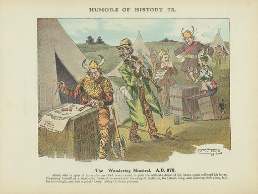 The Wandering Minstrel. AD 878. Illustration for Humors of History (Sully and Ford, c 1905).
