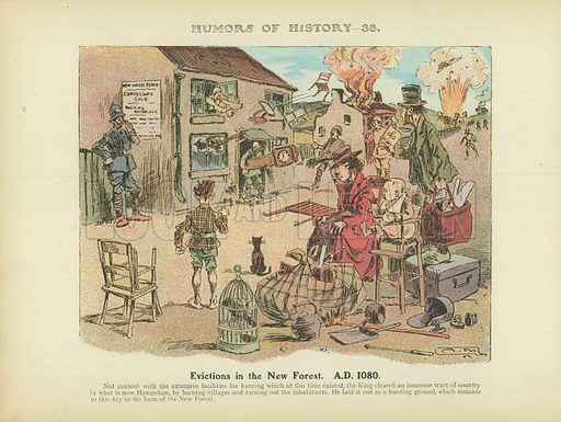 Evictions in the New Forest. AD 1080. Illustration for Humors of History (Sully and Ford, c 1905).