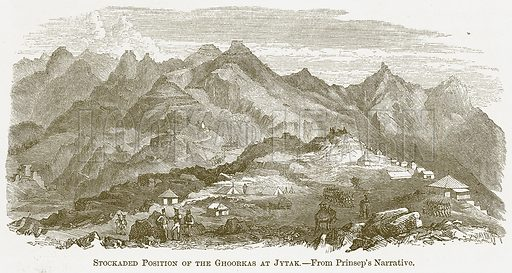 Stockaded Position of the Ghoorkas at Jytak. Illustration for A Comprehensive History of India by Henry Beveridge (Blackie, 1862).