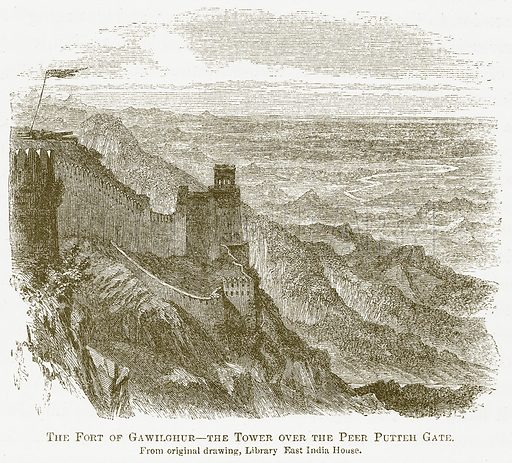 The Fort of Gawilghur--The Tower Over the Peer Putteh Gate. Illustration for A Comprehensive History of India by Henry Beveridge (Blackie, 1862).