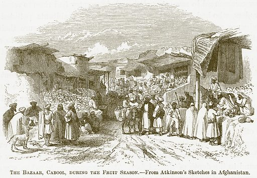 The Bazaar, Cabool, during the Fruit Season. Illustration for A Comprehensive History of India by Henry Beveridge (Blackie, 1862).