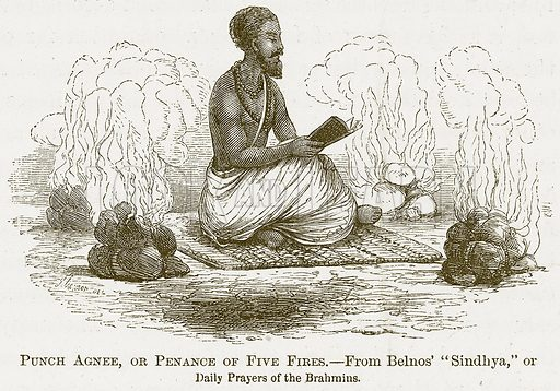 Punch Agnee, or Penance of Five Fires. Illustration for A Comprehensive History of India by Henry Beveridge (Blackie, 1862).