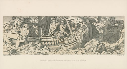 Harold's Ship Stranded on the Norman Coast, in the Territory of Guy, Count of Ponthieu. Illustration for The Norman Conquest (Art Union, 1866).