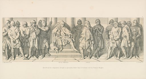 Harold and his Companions, brought, as Prisoners, before Guy of Ponthieu and his Norman Knights. Illustration for The Norman Conquest (Art Union, 1866).