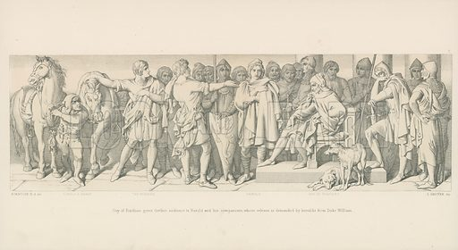 Guy of Ponthieu gives Further Audience to Harold and his Companions, whose Release is Demanded by Heralds from Duke William. Illustration for The Norman Conquest (Art Union, 1866).