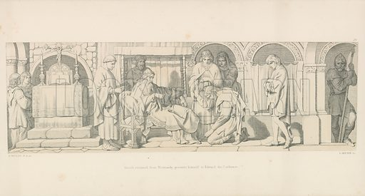 Harold, returned from Normandy, presents himself to Edward the Confessor. Illustration for The Norman Conquest (Art Union, 1866).