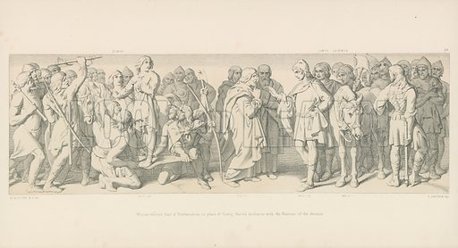 Morcar, Elected Earl of Northumbria, in Place of Tostig, Harold Mediates with the Nuneios of the Election. Illustration for The Norman Conquest (Art Union, 1866).