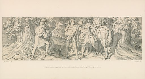 William, in his Hunting-Ground at Rouen, receives Intelligence from Tostig of Harold's Coronation. Illustration for The Norman Conquest (Art Union, 1866).