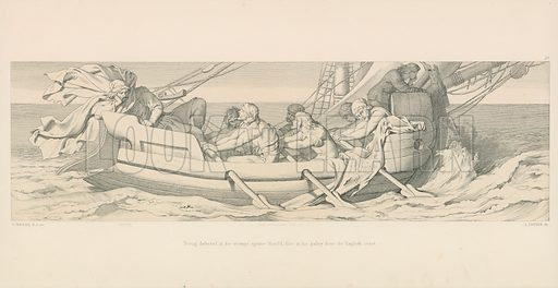 Tostig, defeated in his attempt against Harold, flies in his galley from the English Coast. Illustration for The Norman Conquest (Art Union, 1866).
