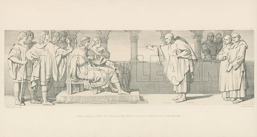 Hugues Maigrot, a Monk, has Audience of King Harold, to propose conditions from Duke William. Illustration for The Norman Conquest (Art Union, 1866).
