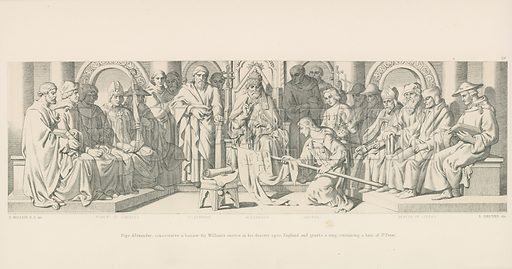 Pope Alexander, Consecrates a Banner for William's Service in his Descent upon England and Grants a Ring, containing a Hair of St. Peter. Illustration for The Norman Conquest (Art Union, 1866).