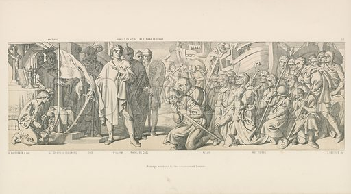 Homage Rendered to the Consecrated Banner. Illustration for The Norman Conquest (Art Union, 1866).