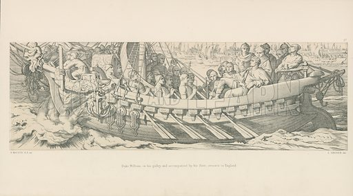 Duke William, in his Galley, and Accompanied by his Fleet, Crosses to England. Illustration for The Norman Conquest (Art Union, 1866).