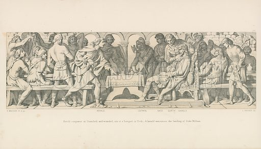 Harold conqueror at Stamford, and wounded, sits at a banquet in York. A herald announces the Landing of Duke William. Illustration for The Norman Conquest (Art Union, 1866).