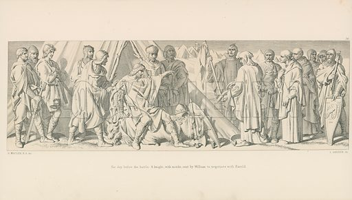 The day before the Battle. A knight, with monks, sent by William to negotiate with Harold. Illustration for The Norman Conquest (Art Union, 1866).