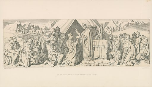 The Eve before the Battle. Pious Observance of the Normans. Illustration for The Norman Conquest (Art Union, 1866).
