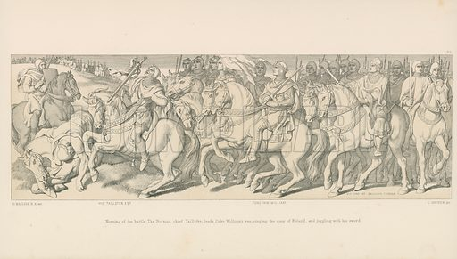 Morning of the Battle. The Norman Chief Taillefer, leads Duke William's van, singing the Song of Roland, and Juggling with his Sword. Illustration for The Norman Conquest (Art Union, 1866).