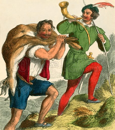 Robin Hood and Little John. Illustration for The Home Treasury of Old Story Books (Sampson Low, 1859).