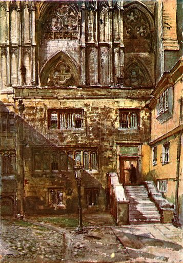 The Abbot's Courtyard and the Entrance to the Jerusalem Chamber. Illustration for Westminster Abbey (Adam and Charles Black, 1904).