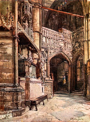 The Tomb of Queen Philippa and the Chantry Chapel of Henry V from the South Ambulatory. Illustration for Westminster Abbey (Adam and Charles Black, 1904).