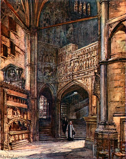 The North Ambulatory, showing the steps which lead up to Henry VII's Chapel. Illustration for Westminster Abbey (Adam and Charles Black, 1904).