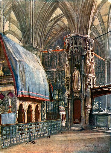St Edward's Shrine and the Chantry Chapel of Henry V. Illustration for Westminster Abbey (Adam and Charles Black, 1904).