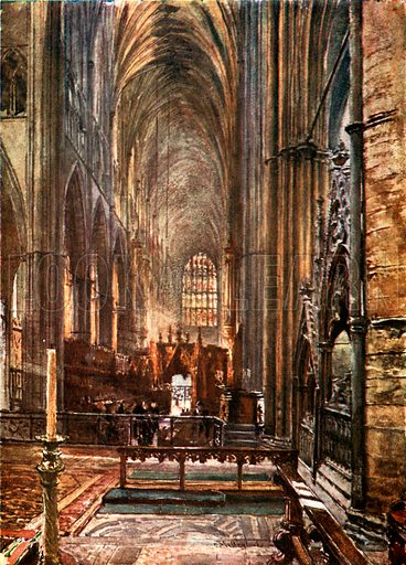 View of the Choir and Nave, looking West from the High Altar. Illustration for Westminster Abbey (Adam and Charles Black, 1904).