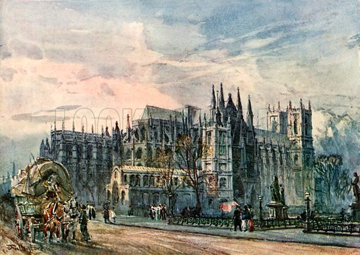 View of the Abbey and St Margaret's Church from Whitehall. Illustration for Westminster Abbey (Adam and Charles Black, 1904).