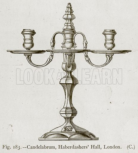 Candelabrum, Haberdashers' Hall, London. Illustration for Historic Ornament by James Ward (Chapman and Hall, 1897).