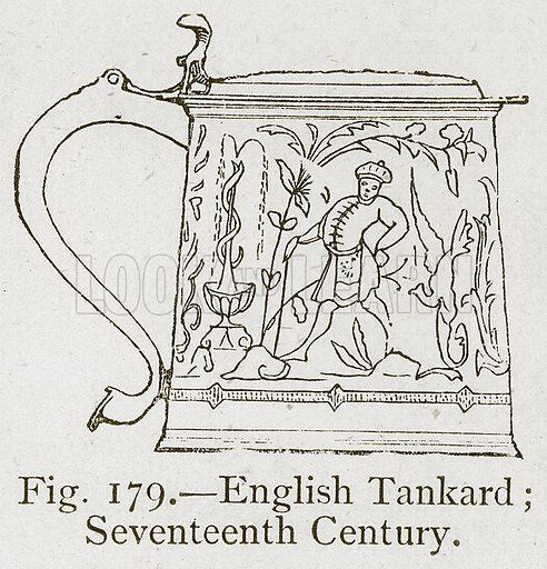 English Tankard; Seventeenth Century. Illustration for Historic Ornament by James Ward (Chapman and Hall, 1897).
